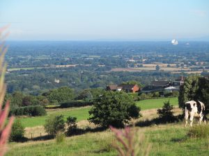 The view from Mow Cop- with Jodrell Bank