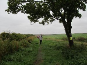 Crossing wet fields towards the first checkpoint