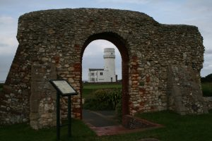 The chapel ruins and the light house