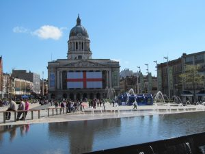 Market Square with St Georges Day flag